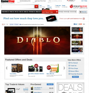 Sitio web GameStop.